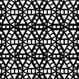 Black and White Wavy Geometric Medallion Pattern Illustration royalty free stock photo