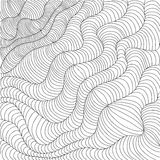 Black and white wavy stripes. Hand drawn vector illustration in doodles style. Optical design Royalty Free Stock Photos
