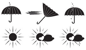 Black and white weather symbols umbrella and the sun. Royalty Free Stock Images