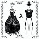 Black-white wedding outfits of bride and groom. Set with monochrom wedding outfits of bride and groom vector illustration