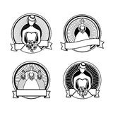 Black and white wedding stamps Stock Photography