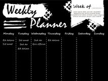 Black and white weekly planner template. Design with grunge effect. Vector illustration Stock Images