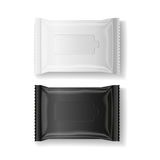 Black & white wet wipes package realistic vector, isolate, 3D Stock Images