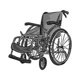Black and white wheelchair vector illustration sketch doodle han. D drawn with black lines isolated on white background Royalty Free Stock Photos