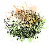 Black and white wild animal hedgehog, abstract art, tattoo, doodle cketch. Royalty Free Stock Images