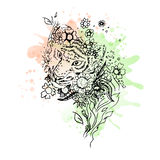 Black and white wild animal tiger head, abstract art, tattoo, doodle cketch. Stock Photos