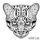 The black and white wild cat print with ethnic patterns. Coloring book for adults antistress. Adult coloring Royalty Free Stock Photography