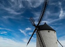 Black and White Windmill Tower and Clear Blue Sky Royalty Free Stock Photo