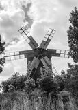 Black and white windmill wallpaper Royalty Free Stock Images