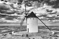 Black and white old windmills of Don Quixote de la Mancha. Alcazar de San Juan. Castilla La Mancha. Spain. stock image