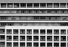 Black and White window from the building in Bangkok. Black and White window with symmetrically arranged from the building in monochrome Royalty Free Stock Photo
