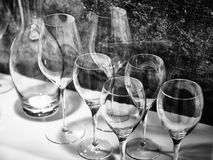 Wine glasses for wine and drinks. Black and white wine glasses for wine and drinks Royalty Free Stock Image