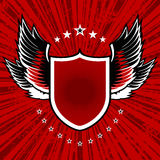 Black and white wings. Vector illustration of shield and wings set on red grunge background Royalty Free Stock Photos