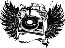 Black And White Wings DJ Flayer. Royalty Free Stock Photo