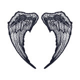 Black and white wings stock illustration