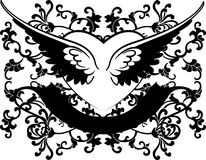 Black And White Wings Heart On Curves Background Royalty Free Stock Image