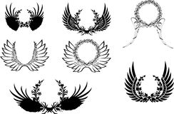Black And White Wingsl Wreath. Royalty Free Stock Photography