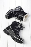 Black and white winter boots Royalty Free Stock Images