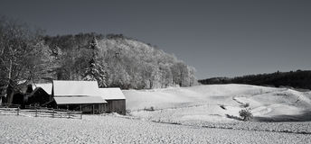 Black and White Winter Farmscape Stock Photography