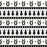 Black and white winter forest pattern. Xmas trees, owls and snowflakes. Simple seamless xmas background. Vector design for winter holidays. Design for textile Royalty Free Stock Image
