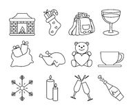 Black and white winter icons 2 Royalty Free Stock Photography