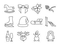 Black and white winter icons Royalty Free Stock Photos