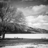 Black and white winter lake landscape Royalty Free Stock Photo