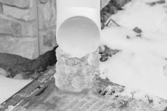Black and white, winter lineated clogged with ice ice. Royalty Free Stock Photography