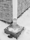 Black and white, winter lineatum was covered with ice. Royalty Free Stock Photography