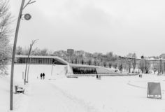 A black and white winter scene royalty free stock photo