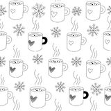 Seamless pattern mugs and snow. Black and white winter seamless pattern. Vector illustration. Cute mugs of tea, or coffee, and snowflakes. Doodle background stock illustration