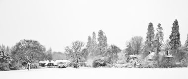 Black and white Winter snow farm landscape Stock Image