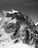 Black and white on winter snow mountain Royalty Free Stock Photos