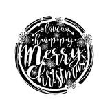 Black and white winter typography poster or card with Have a Happy Merry Christmas design. Royalty Free Stock Photo