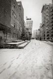 Black and white Winter view of the High Line covered in snow. Chelsea, New York City Stock Photo