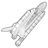 Black and white wire space shuttle on white. Stock Photography