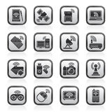 Black and white wireless and communications icons Royalty Free Stock Images