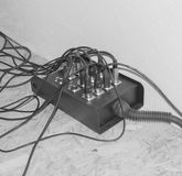 Black and white, the wires from the musical instrument with the Stock Photo