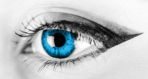 Black And White Woman Blue Eye Stock Photography