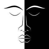 Black and white woman face Royalty Free Stock Images