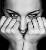 Black and white woman lean on the fists royalty free stock photo