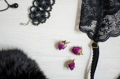 Black and white women accessories on the white backgroud. Lace g Royalty Free Stock Images