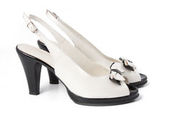 Black and white women's shoe Royalty Free Stock Images