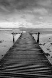 Black and white wooden bridge Royalty Free Stock Images