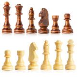 Black and white wooden chess isolated on the white background Stock Photography
