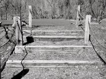 Black and white of wooden steps Stock Photo