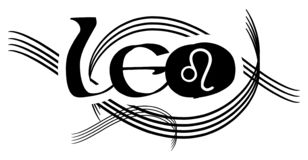 Black and white word leo tattoo isolated stock illustration