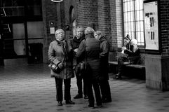 BLACK AND WHITE WORK LIFE  CENTRAL TRAIN STATION Stock Images