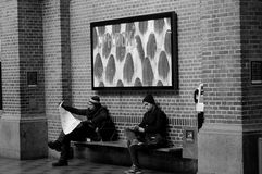 BLACK AND WHITE WORK LIFE  CENTRAL TRAIN STATION Royalty Free Stock Images