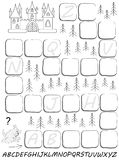 Black and white worksheet with exercise for study English alphabet. Draw missing letters in relevant places. Stock Photos